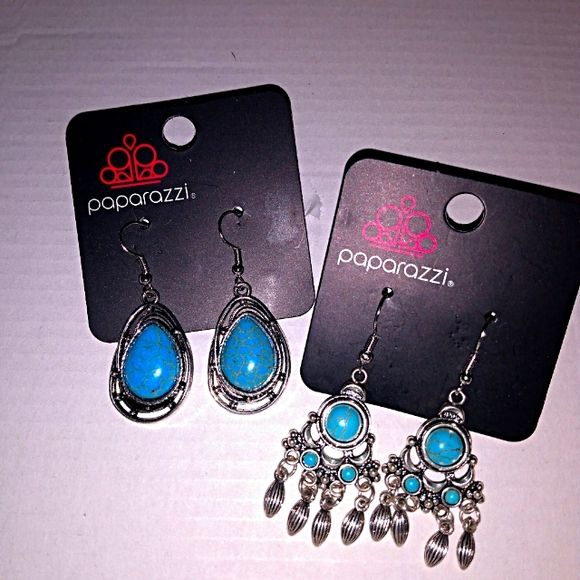 2 Sets Turquoise Paparazzi Earrings